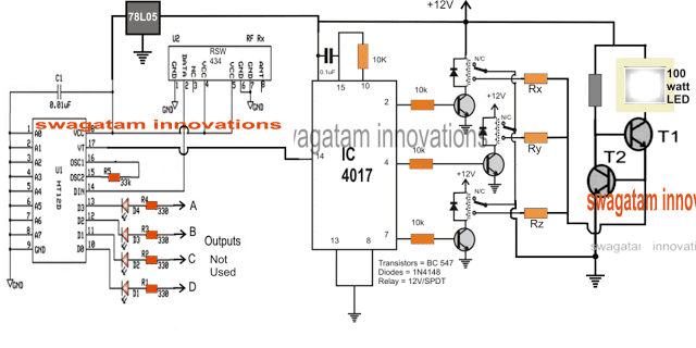 Remote Controlled Solar Lamp Intensity Controller Circuit