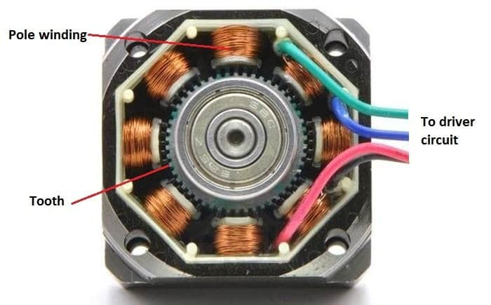A stepper motor showing number of poles wound with insulated copper wire called stator or non-moving part of the motor