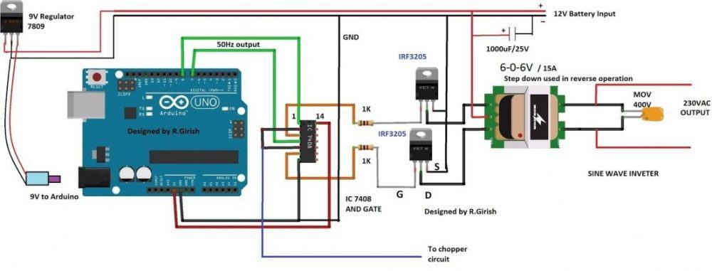 Arduino Modified Sine Wave Inverter Circuit