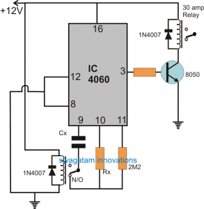 Submersible Timer Circuit with Pause Feature during Mains Failures