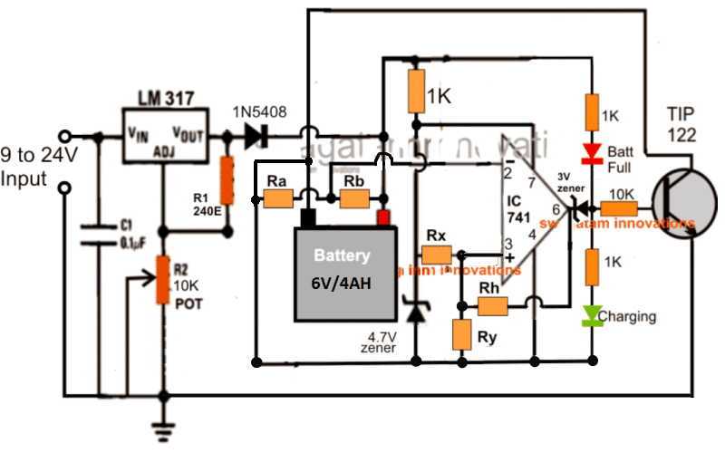 battery charger circuit with fixed resistors