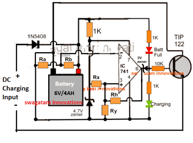High Current Universal Battery Charger Circuit with Fixed Resistors