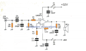 60 Watt Stereo Amplifier Circuit using Gainclone Concept