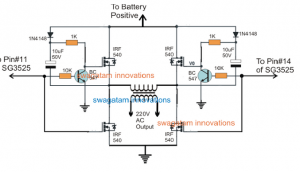 SG3525 Full Bridge Inverter using Bootstrapped BJT/Mosfet Network