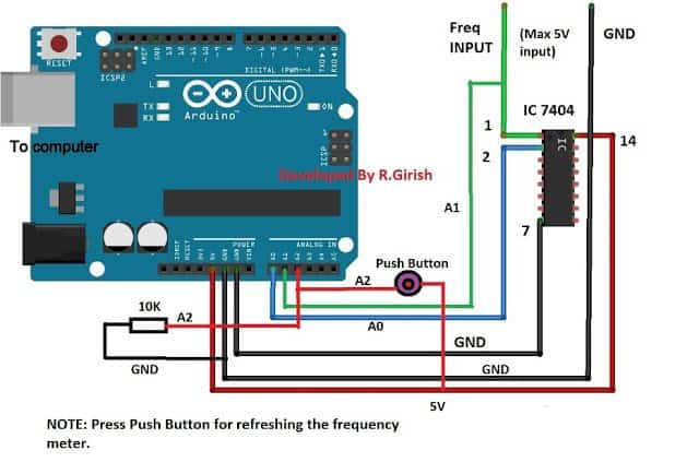 The 10K potentiometer is used to adjust the contrast of the 16 x 2 LCD