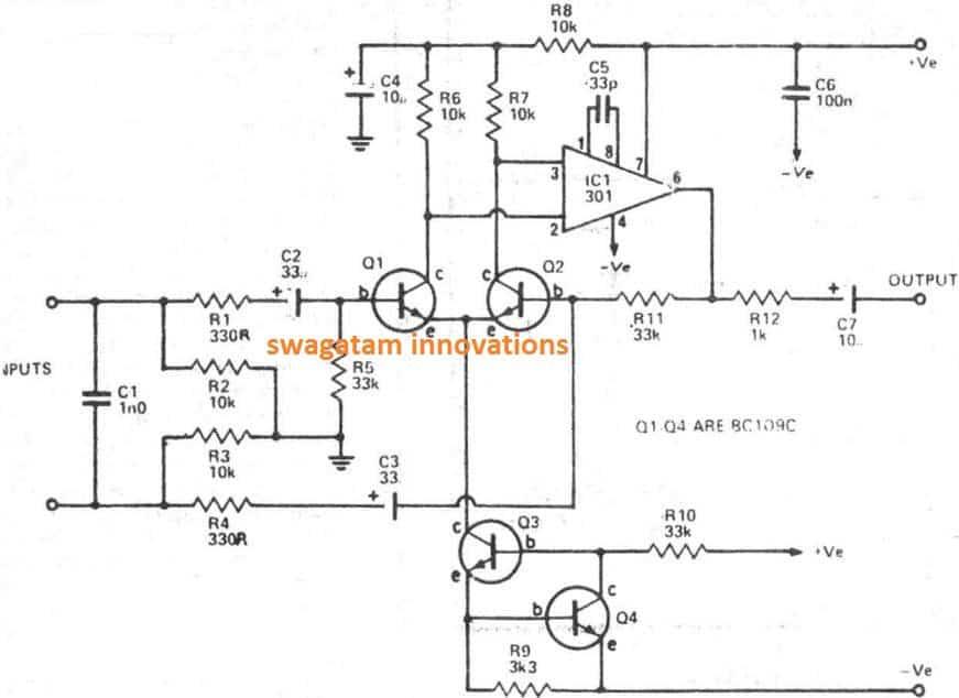 Balanced Microphone Preamplifier Circuit