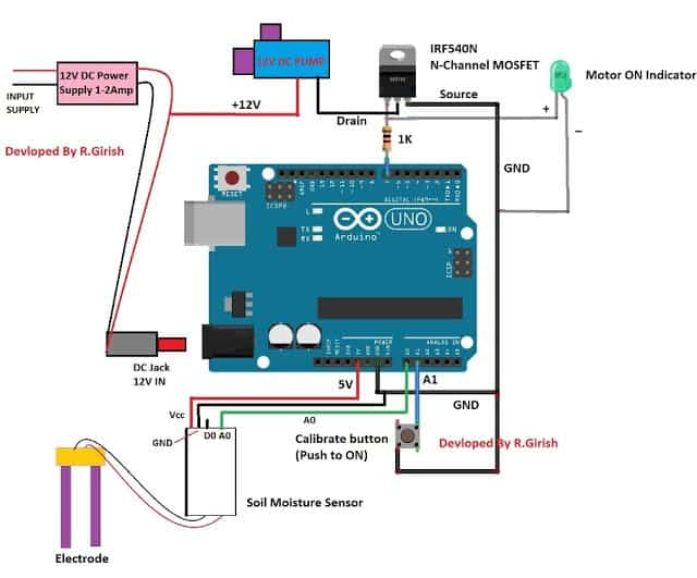 schematic diagram of Automatic Irrigation System Using Arduino