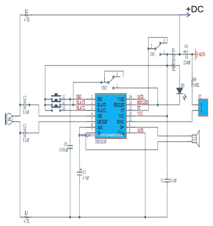 Audio Record/Playback Circuit using IC ISD1820