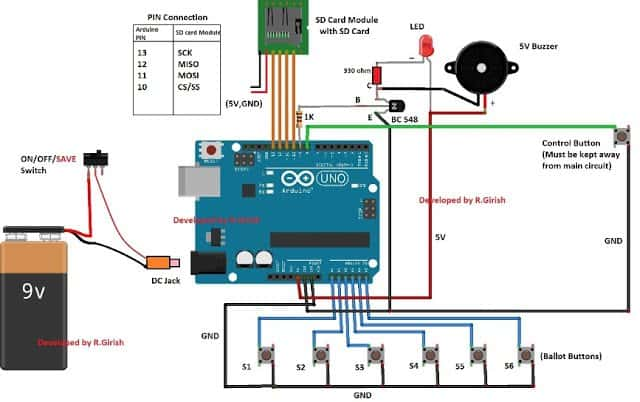 Electronic Voting Machine Circuit with SD Card Module and Arduino