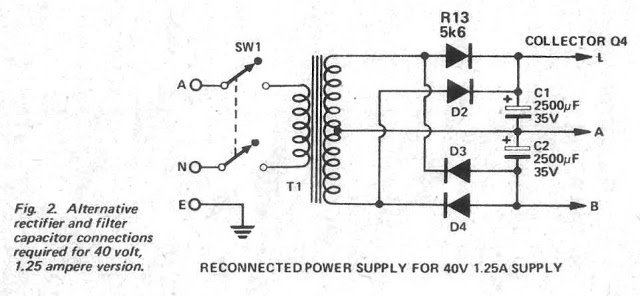 0-40V Power Supply Transformer Diode Wiring Details