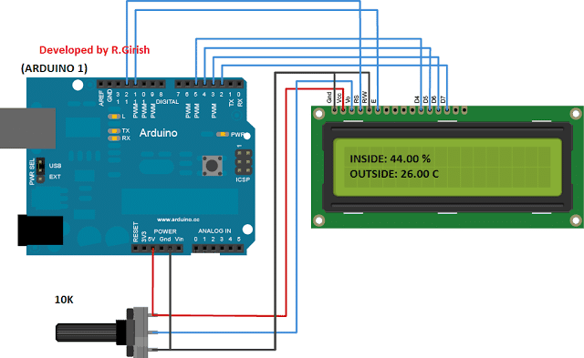 arduino to LCD display connection. 10K potentiometer