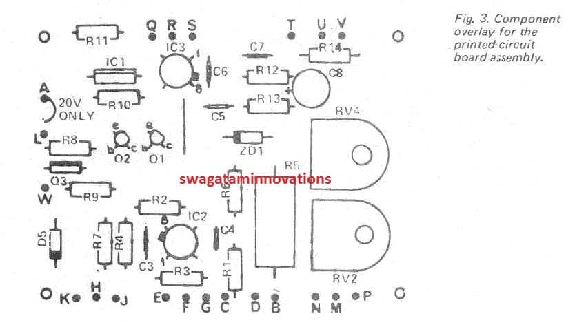 0-40V Power Supply PCB Component Overlay