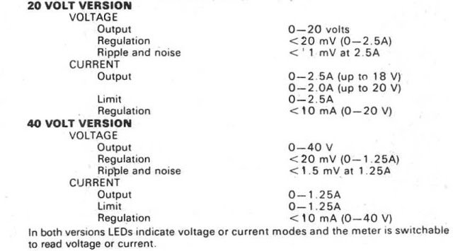 Technical Specs for the 0-40V Power Supply
