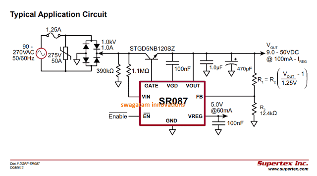 50V Adjustable Transformerless Power Supply Circuit using SR087 IC