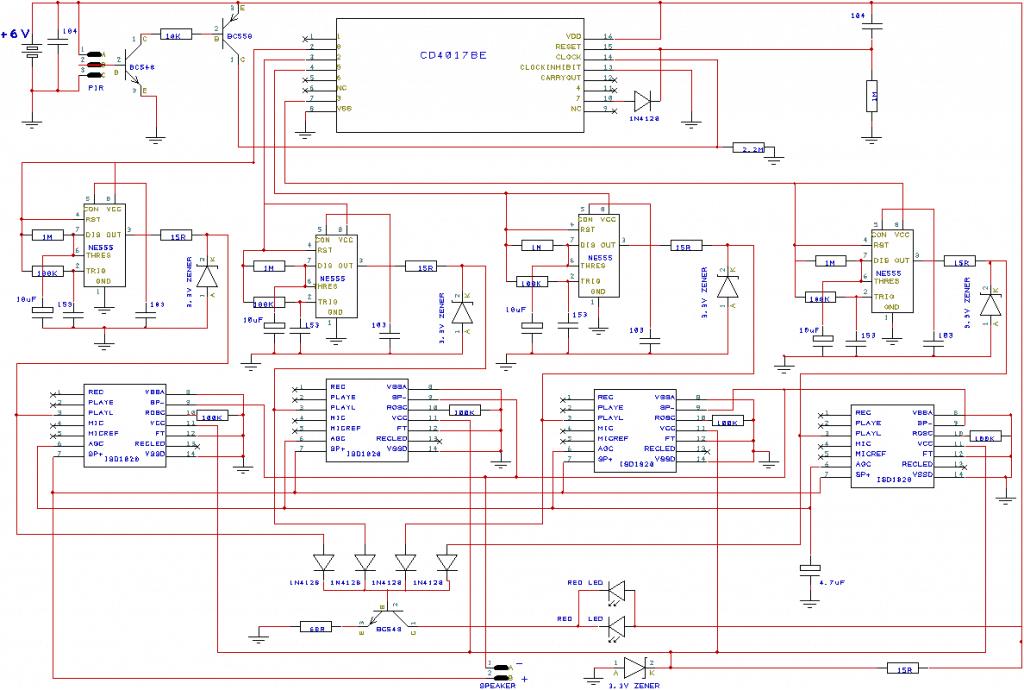 PIR Triggered Message Player Circuit