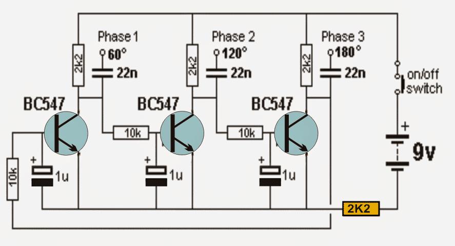 BC547 transistor based 3 phase signal generator circuit