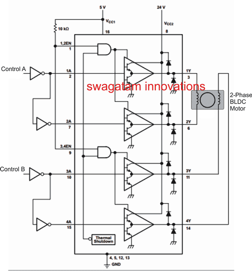 Using L293 to control a 2-phase BLDC motor
