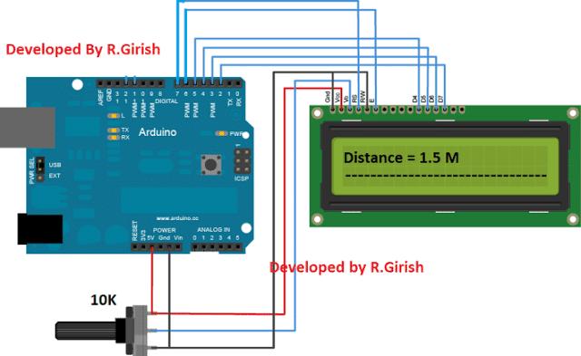 Car Parking Sensor Alarm LCD Display Circuit