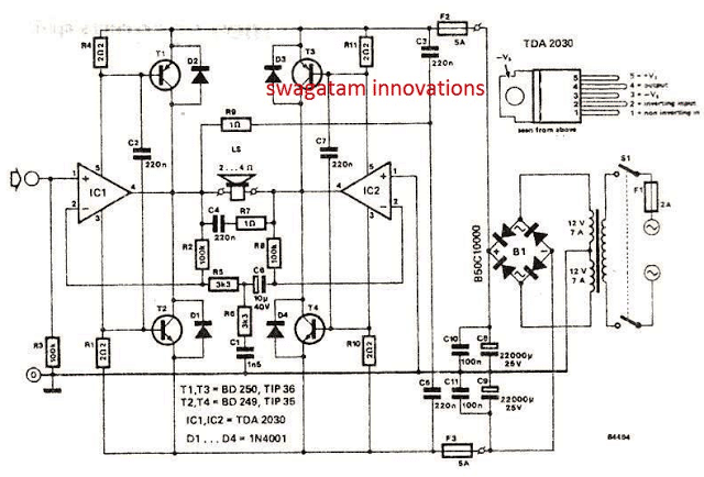 Bridged 120 watt amplifier circuit using TDA2030 IC