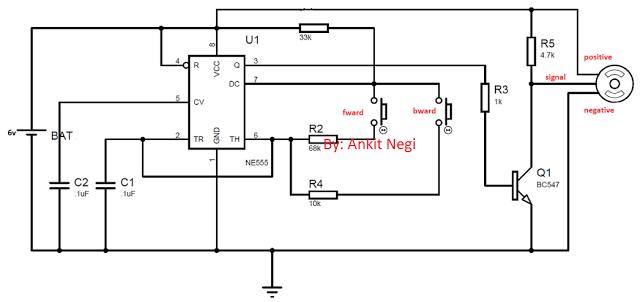 servo motor control using IC 555 circuit