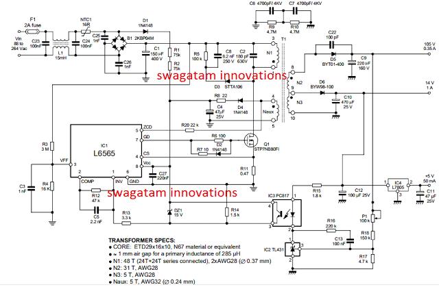 110V, 14V, 5V SMPS Circuit – Detailed Diagrams with Illustrations