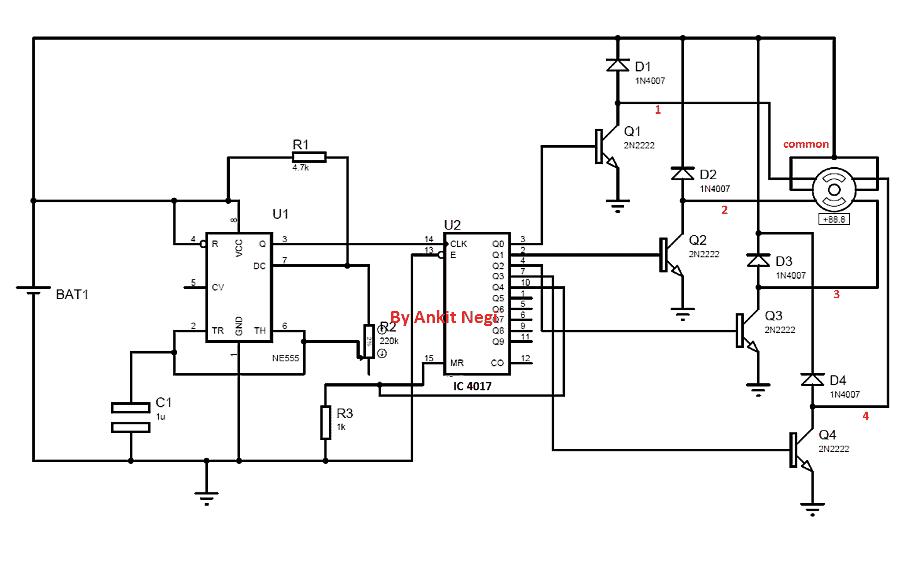 simple stepper motor driver circuit using IC 555