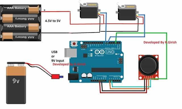Arduino servo motor control using joystick