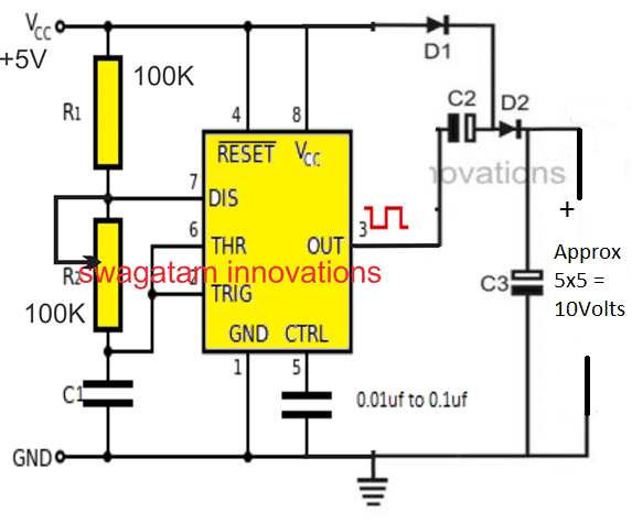 IC 555 voltage doubler circuit
