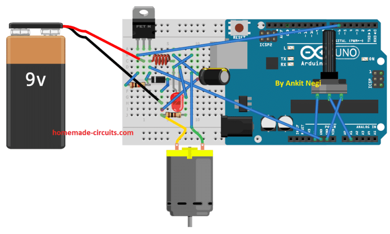 Buck Converter Using Arduino wiring layout
