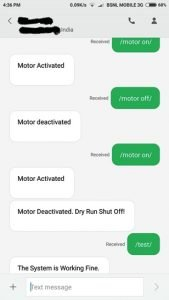 SMS Based Pump Controller with Automatic Dry Run Shut Off