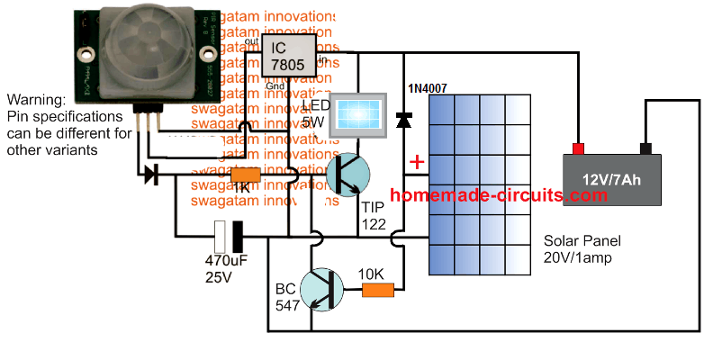 Pir Solar Home Lighting Circuit Homemade Circuit Projects
