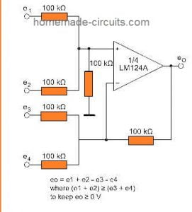 DC summing amp using LM324