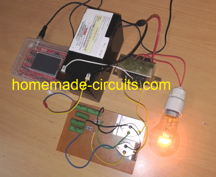 prototype working model image for 2N3055 simple inverter