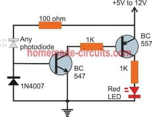 simple 2 transistor remote tester circuit