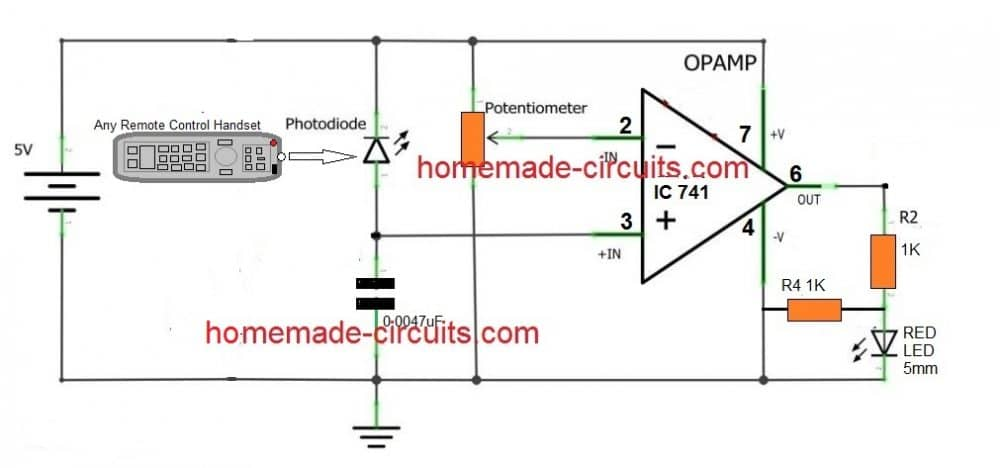 Remote control tester circuit using an opamp