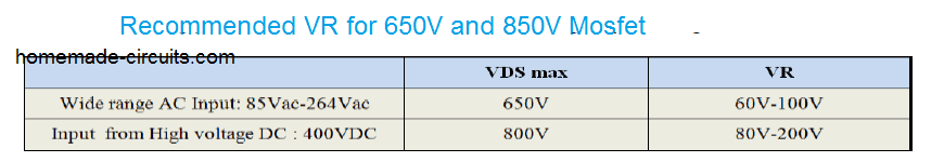reflected voltage or induced voltage may be recommended for a 650V to 800V