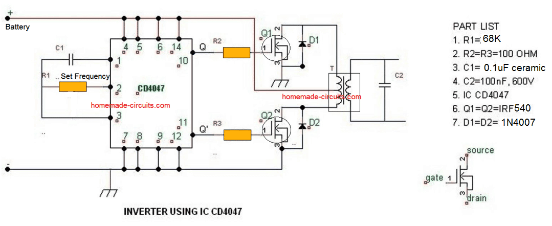 IC 4047 square wave inverter with parts