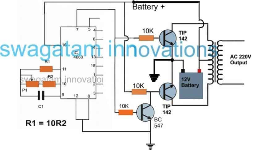 IC 4060 based simple inverter circuit