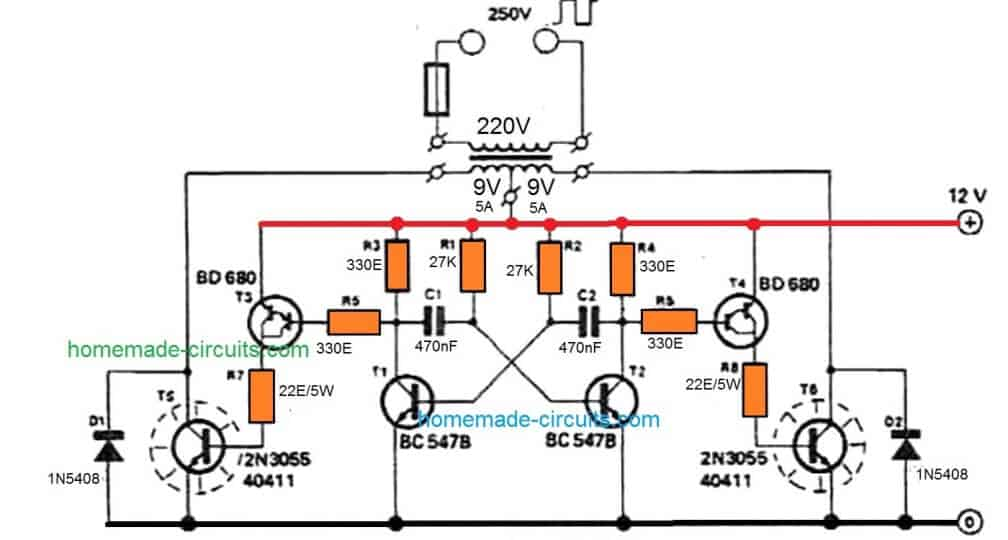 2N3055 inverter 100 watt simple circuit