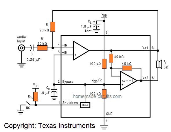 5V USB 3 watt amplifier circuit for PC