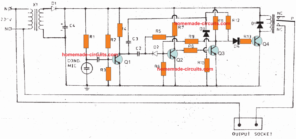 clap switch using only transistors capacitors, and resistors