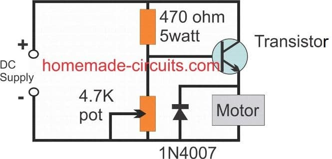 motor speed control using BJT emitter follower circuit