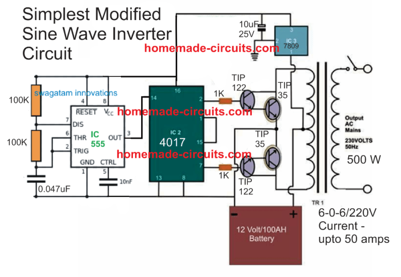 simplest modified sinewave inverter circuit