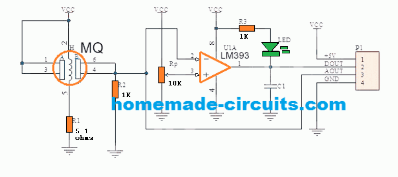 Alcohol Detector Meter Circuit using MQ-3 Sensor Module