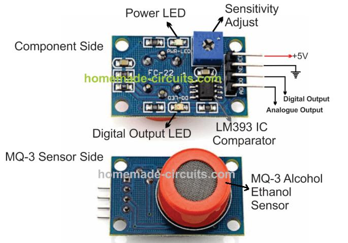 MQ-3 sensor module pinout details