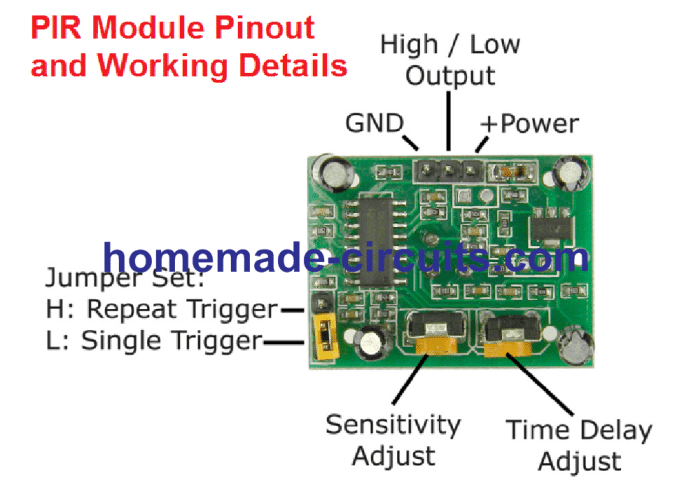 PIR module trigger modes, + supply, out, ground pinouts explained