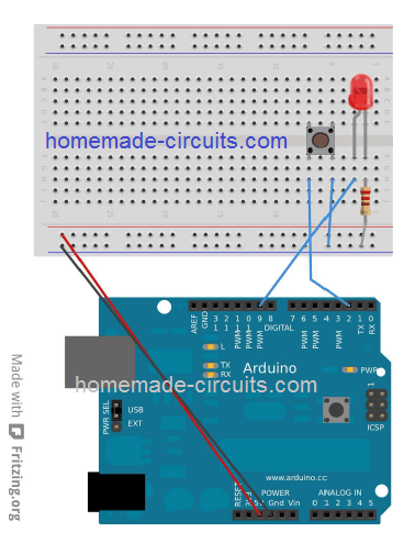 interface push button with Arduino