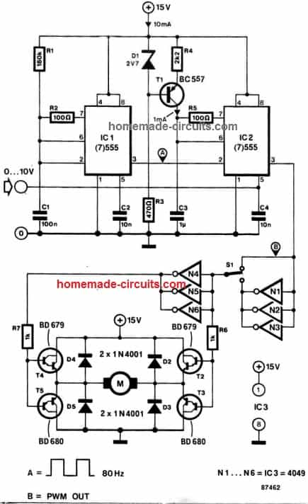 IC 556 bidirectional motor speed control