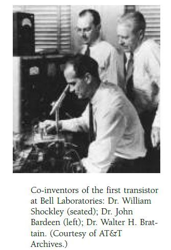Co-inventors of the first transistor at Bell Laboratories: Dr. William Shockley (seated); Dr. John Bardeen (left); Dr. Walter H. Brattain. (Courtesy of AT&T Archives.)