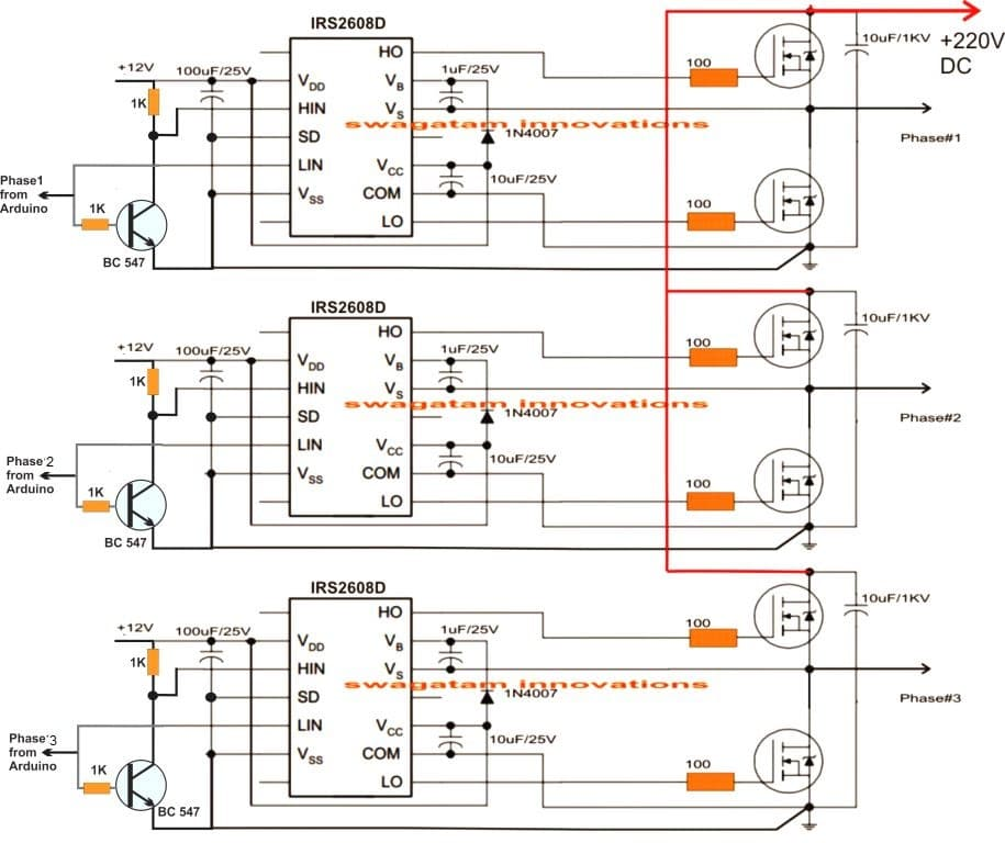Arduino 3 Phase Inverter Circuit with Code | Homemade Circuit Projects